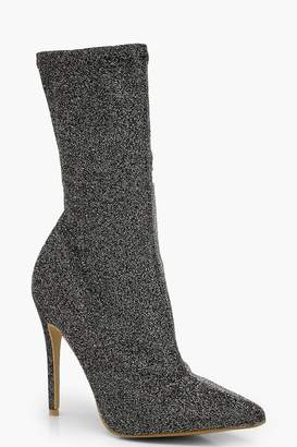 boohoo Pointed Toe Stiletto Heel Sock Boots