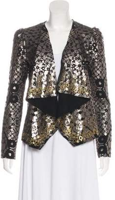Diane von Furstenberg Embellished Metallic Jacket