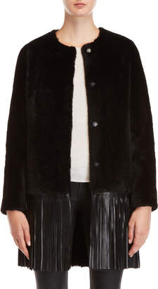 Yves Salomon Real Fur Fringe Hem Coat