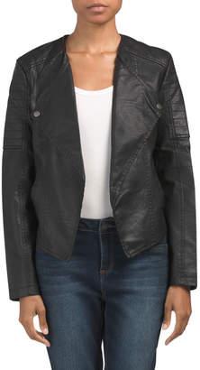 Juniors Drape Front Faux Leather Jacket