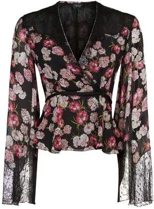 Giambattista Valli Floral Silk Crossover Blouse