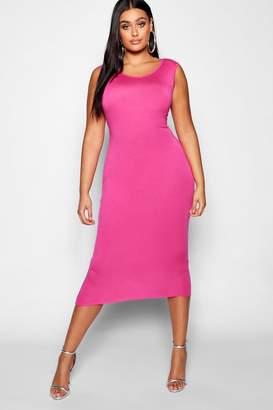 boohoo Plus Sleeveless High Neck Midi Dress