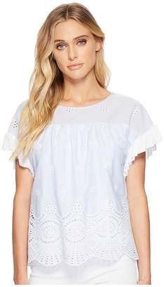 Kensie Eyelet Stripe Top KS4K46S7 Women's Clothing