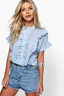 boohoo Ruffle Short Sleeved Shirt