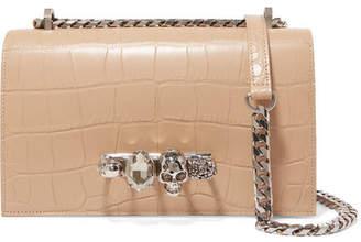 Alexander McQueen Jewelled Satchel Embellished Croc-effect Leather Shoulder Bag - Beige
