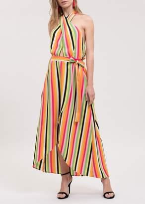 Blu Pepper Halter Crossover Stripe Maxi Dress