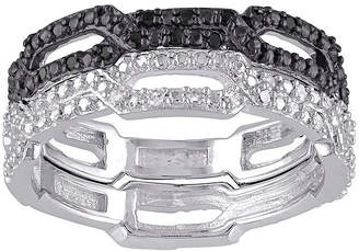 Black Diamond FINE JEWELRY 1/7 CT. T.W. White and Color-Enhanced Black Two-Tone Sterling Silver Ring Set