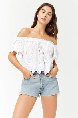 Forever 21 Off-the-Shoulder Eyelet Crop Top