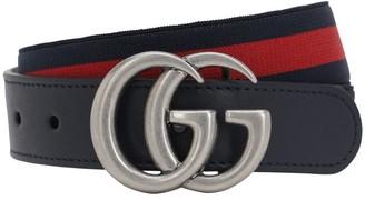 Gucci Elastic Belt W/ Leather Details