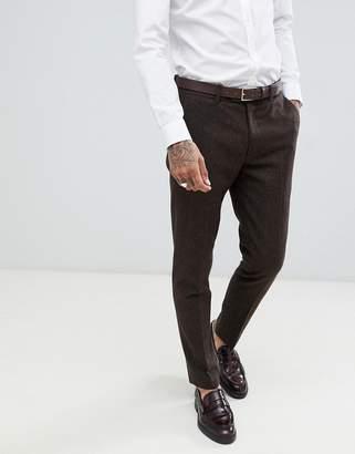 Gianni Feraud Slim Fit Brown Donnegal Wool Blend Suit Pants