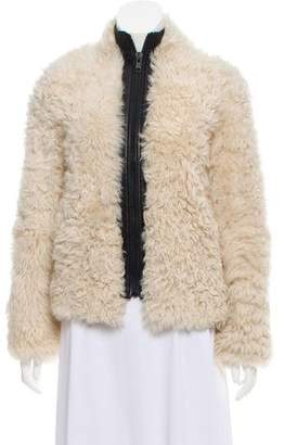 Helmut Lang Leather-Trimmed Shearling Jacket
