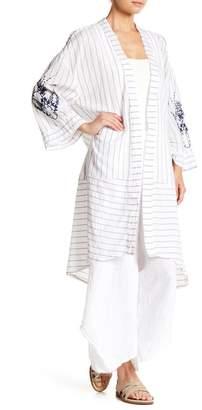 XCVI Bassi Striped & Embroidered Kimono