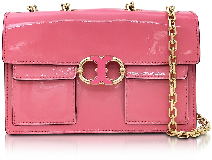 Tory BurchTory Burch Gemini Link Cosmo Pink Patent Leather Chain Shoulder Bag