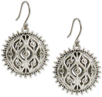 Lucky Brand Silver-Tone Pave Openwork Drop Earrings