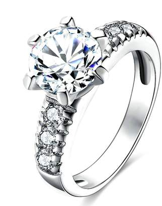 Aokarry Wedding Ring, Plated Round Cut Wedding Band Engagement Ring Size 6