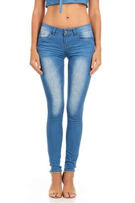 Cover Girl Women's Butt Lifting Low Rise Skinny Jeans Acid Washed
