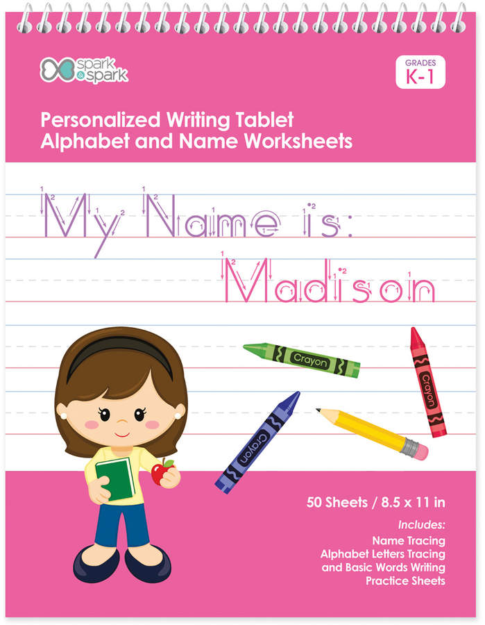 Brown-Haired Girl Personalized Writing Practice Tablet