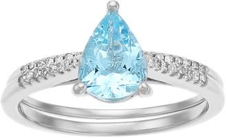 10k White Gold Pear Aquamarine 1/7 Carat T.W. Diamond Ring