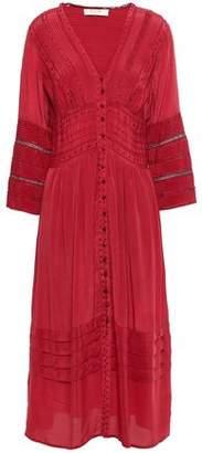 Sea Crochet-trimmed Embroidered Crepe De Chine Midi Dress