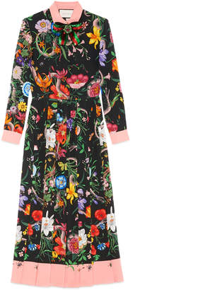 Gucci Flora Snake print silk dress