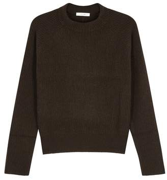 The Row Bowie Brown Ribbed Cashmere Jumper