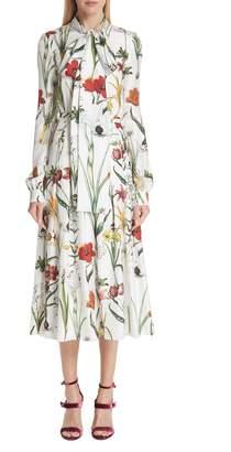 Oscar de la Renta Harvest Floral Silk Twill Dress