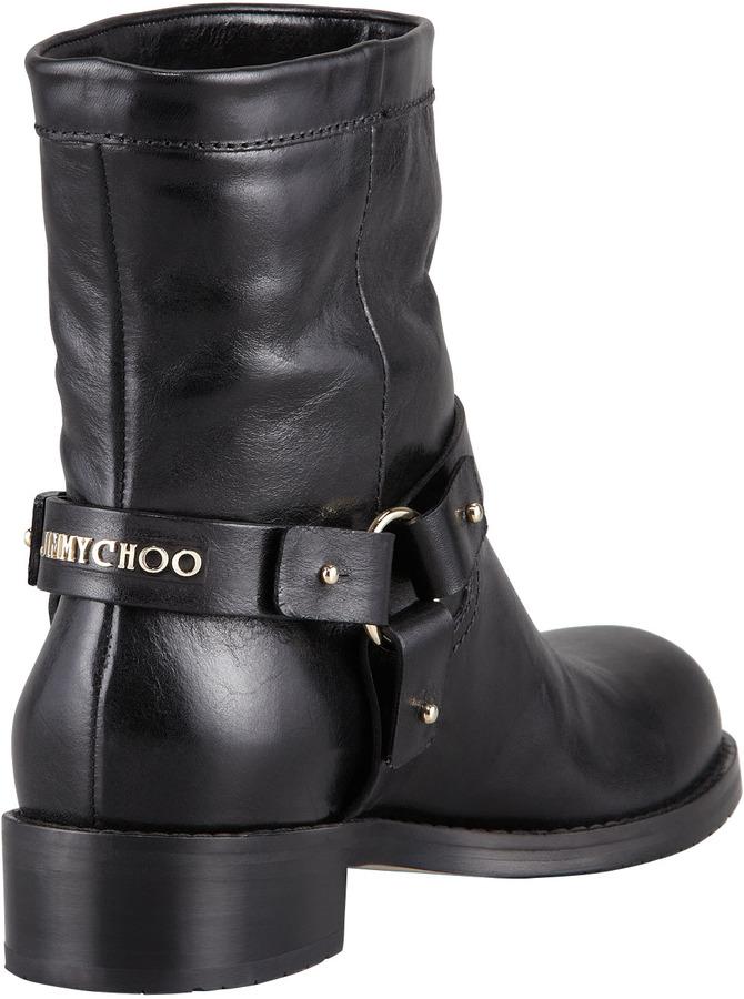 Jimmy Choo Dixi Shiny Calfskin Low Moto Boot, Black