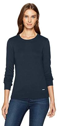 Nautica Women's Long Sleeve Cable Side Seam Crewneck Sweater