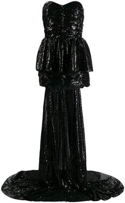 ATTICO sequinned gown with cape
