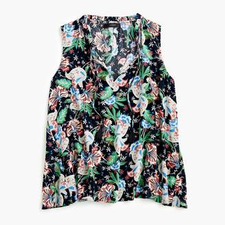 J.Crew Drapey tie-front top in island floral