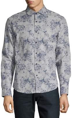 Black Brown 1826 Slim-Fit Floral Shirt
