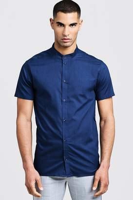 Slim Fit Short Sleeve Grandad Collar Shirt
