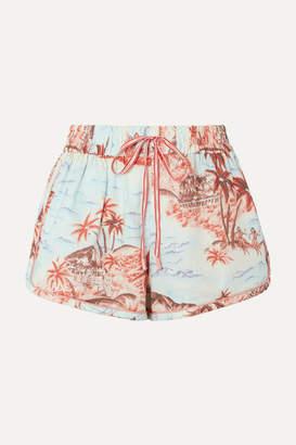 Zimmermann Eyes On Summer Printed Cotton And Linen-blend Canvas Shorts - Light blue