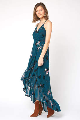 Abbeline Cross Back Floral Wrap Maxi Dress