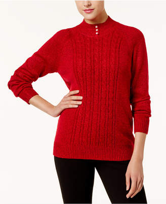 Karen Scott Cable-Knit Mock-Neck Sweater
