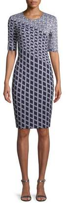 St. John Chain Swirl Jacquard Knit Dress