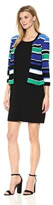 Sandra Darren Women's 2 Pc 3/4 Sleeve Striped Sheath Knit Jacket Dress with Belt