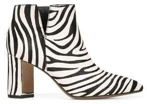 Franco Sarto Nest Zebra-Print Calf-Hair & Leather Ankle Booties