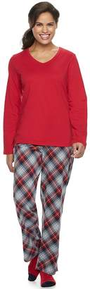 Croft & Barrow Petite Long Sleeve 3 Piece Pajama Set with Sock