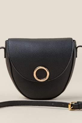 francesca's Evelyn Vegan Leather Saddle Bag - Black