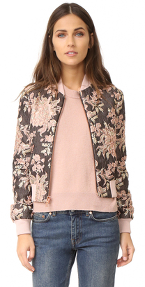 alice + olivia Lonnie Cropped Bomber Jacket $485 thestylecure.com