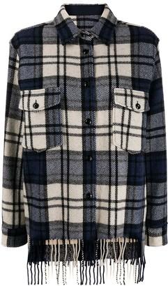 Woolrich check print fringe shirt