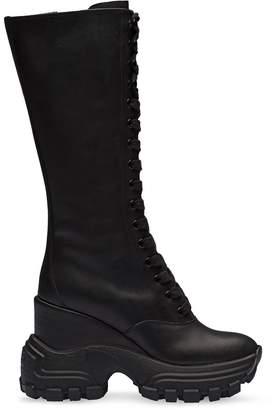 Miu Miu platform biker calf boots
