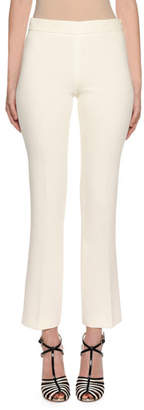 Giambattista Valli Side-Zip Straight-Leg Stretch-Cotton Pants