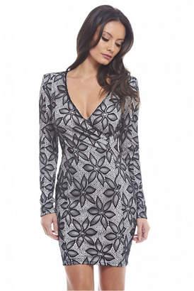 AX Paris Wrap Front Long Sleeved Dress
