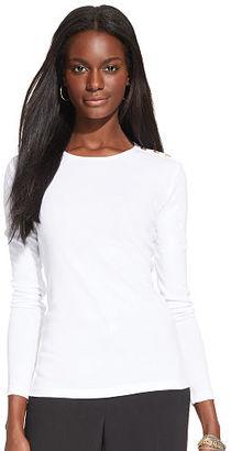 Ralph Lauren Lauren Button-Shoulder Cotton Tee $45 thestylecure.com