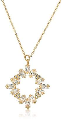 Kenneth Jay Lane CZ by Women's Baguette Cluster Round Pendant Necklace