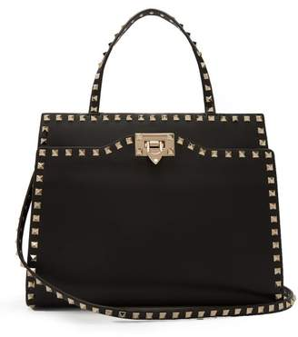 Valentino Rockstud Medium Leather Bag - Womens - Black