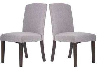 Merax Fabric Dining Chairs Set of 2 with Solid Wood Legs Dining Room Furniture with Nailed Trim