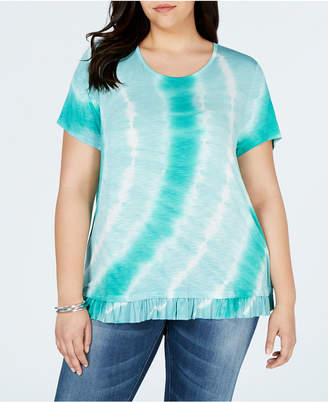 Style&Co. Style & Co Plus Size Printed Ruffle-Hem Top